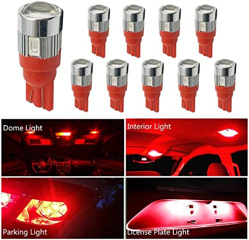 HOCOLO 10x T10 198 194 168 912 921 W5W 2825 Ice Blue 8000K Color 24-SMD High Power LED Bulbs Super Bright For Interior Dome//Map//License Plate//Parking//Door//Trunk Lights 10pcs T10 24-SMD, Blue