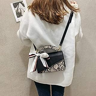 Fashion Single-Shoulder Bags Ribbon Snake Skin Color Matching PU Leather Single Shoulder Bag Ladies Handbag Messenger Bag (Black) (Color : Black)