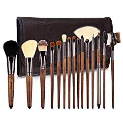 Bộ cọ trang điểm 15 cây ZOREYA Makeup Brushes Set Walnut Professional Synthetic 15pcs High End Make up Brush Set For Cosmetic Make Up Contouring Powder Contour Foundation Eyebrow Eye shadow with Brush Case Holder