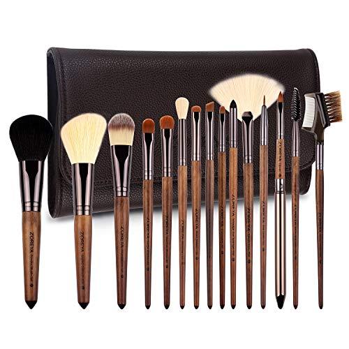 ZOREYA Makeup Brush Sets ,15pcs Unique Walnut Makeup Brushes with Nobility,Professional Premium Synthetic Foundation Powder Concealers Eye Shadows Makeup brushes...