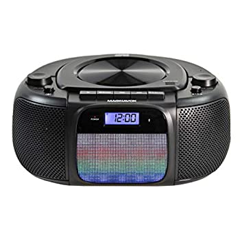Magnavox MD6972 Portable Top Loading CD Boombox with Digital AM/FM Stereo Radio Color Changing Lights and Bluetooth Wireless Technology | CD-R/CD-RW Compatible | LCD Display |