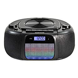 Magnavox MD6972 Portable Top Loading CD Boombox with Digital AM/FM Stereo Radio, Color Changing Lights, and Bluetooth Wireless Technology   CD-R/CD-RW Compatible   LCD Display  
