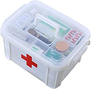 Medicine Chest HTTYX Medical Box,Double Layer Medicine Storage First Aid Container Multifunctiona Organizer,First Aid Kit ...