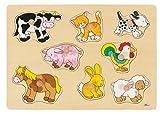 Goki- Puzzles de Madera Granja VII, Encaje, Multicolor (57873)