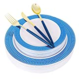 Supernal 150pcs Plastic Plates with Silverware,Plastic Dinnerware with Blue Color, Plastic Party Plates with Petal design,Plastic Gold Silverware with Long Blue Handle,Suit for Wedding,Party,Birthday