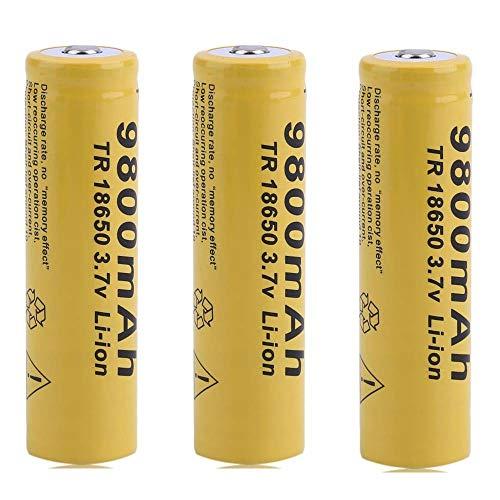 RoxTop Pilas 18650 Batería Recargable Pila 18650 9800mAh 3,7V Litio Li-Ion Batería Sin Efecto Memoria 1000Ciclos18650 Baterías Recargables Linterna, Amarillo (10 Piezas)