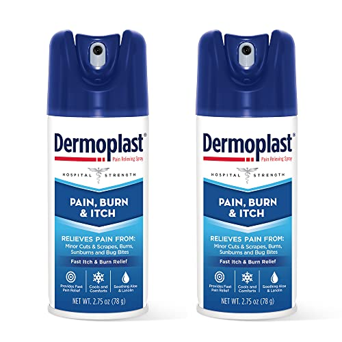 Dermoplast Pain, Burn & Itch Spray, Pain Relief Spray for Minor Cuts, Burns and Bug Bites, 2.75 oz (Pack of 2) Packaging may vary
