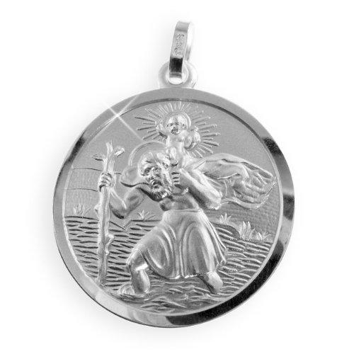 Grosser Christophorus Anhänger echt Sterling Silber Durchmesser 24mm (Art.213247) Gratis Express Gravur