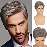 Swiking Mens Short Wig Grey Straight Natural Synthetic Cosplay Hair Wigs for Male Guy Daily Replacement Full Wig