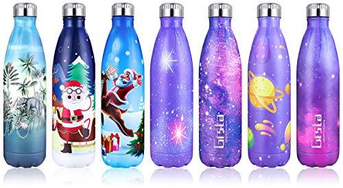 Grsta Botella Agua, 500ml Botella Agua Acero Inoxidable sin BPA Pared Completa Botellas de Frío/Caliente Termo Botellas...