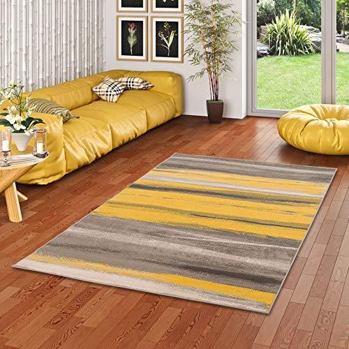Pergamon Designer Teppich Samba Beige Gelb Stripes in 5 Größen