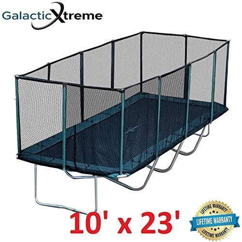 Galactic Xtreme Gymnastic Rectangle Trampoline with Safety Net Enclosure - Heavy Duty Commercial Grade - 550 lbs Jumping Capacity on Frame & Springs, 10 X 23 Ft