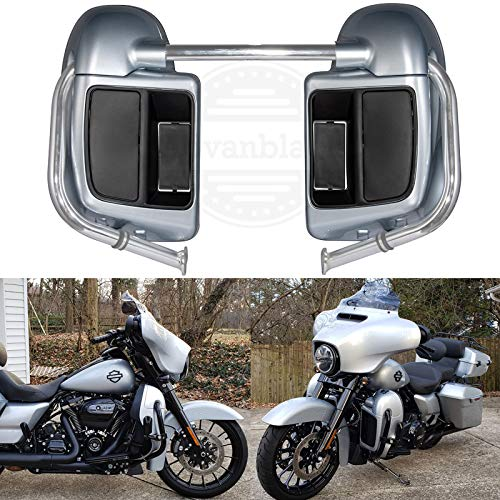 Advanblack Barracuda Silver Lower Vented Fairings Leg Warmers Kits with Glove Box Fit for Harley Touring Road King Street Glide Special 2019
