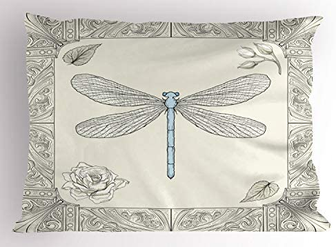 Ambesonne Dragonfly Pillow Sham Hand Drawn Royal Style Rose Petals Leaves and Ornate Design product image