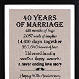 40th Anniversary Burlap Print with Frame, 40th Anniversary Gifts for Couple, 40th Wedding Anniversary Gift for Her