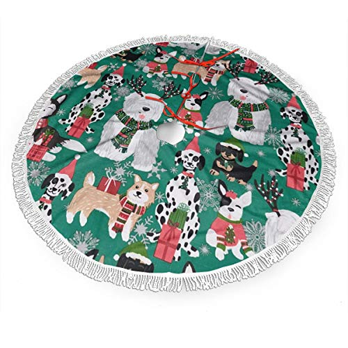 MSGUIDE 48 Inch Tree Skirt, Whimsical Christmas Dogs Tassel Christmas Tree Skirt Large Xmas Tree Mat for Holiday Party Home Decoration Ornaments