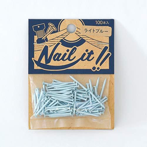 若井産業(Wakaisangyou) Nail it!!(ネイルイット)ストリングアート 釘 袋入 ライトブルー 釘のサイズ 長さ:19mm 太さ:#17(約Φ1.47mm) 100本 NF10020