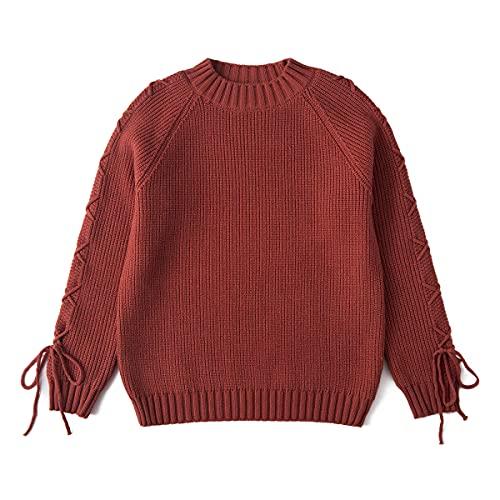 Curipeer Girls Pullover Sweater Long Sleeve Crewneck Kids Knit Sweatshirt 10-11Y