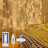 Lichtervorhang 3x3M, Infankey 300LED USB Lichterkette Innen mit Fernbedienung, 8 Modi & Timer, IP44 Wasserdicht Lichterketten Vorhang für Innen und Außen Deko, Schlafzimmer, Garten
