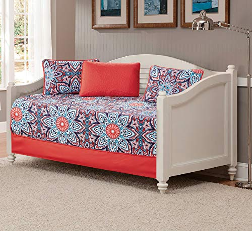 Fancy Linen 5pc Daybed Set Bed Cover with Flowers Burgundy Navy Blue Teal Red White New (Sophia Orange)