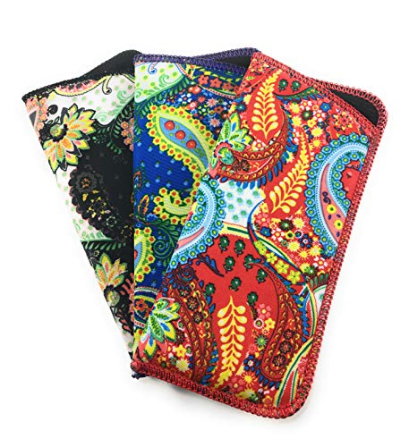 3 Pack Soft Eyeglass Slip in Cases for Women & Men In A Variety of Colors & Patterns (Bold Paisley)