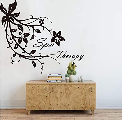 Therapeutische Sprache Blume Schönheitssalon Wandaufkleber Haar Maniküre Maniküre Schönheitssalon Fenster Wandapplikation Dekoration Vinyl 56x49cm