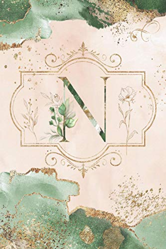 N: Monogram 'N' - Dot Grid Bullet Journal - Pretty Personalized Initial Design - Best Notebook Diary For Women, Girls, Teens, Home, Work, School - ... Vintage Watercolor & Gold Cover 6'x9'