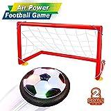 Baztoy Air Football, Air Power Soccer Fußball mit Fußballtor LED Beleuchtung Kinder Air Fussball Spielzeug für drinnen und draußen