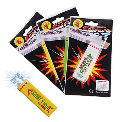 Electric Shock Shocking Funny Pull Head Chewing Gum Gags(4pcs random) Tricky Joke Toy Shocking Hardcover Chewing Gum Joke Gadget Safety Electric Trick Prank Gag Funny Toy Fools Day Gift for Halloween