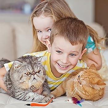 Rétractable Pet jouet pour chat avec plumes Jouet interactif amusant Jouets Teaser Cat Catcher télescopique pour votre chat et votre chaton Animaux avec 9 recharges de plumes