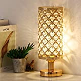 Crystal Table Lamp, Decorative Bedside Lamp, Modern Nightstand Desk Lamp with Crystal Beads Lampshade, Fashionable Night Light for Living Room, Bedroom, Study Room, Home Decoration