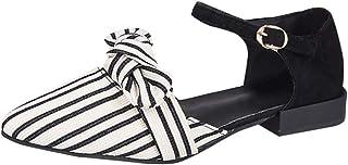 幸運な太陽 レディースナースサンダル スクエアヒール 弓 ストライプ 布素材 バックル 歩きやすい 滑りにくい サンダル 婦人靴 3cmヒール 韓国風 可愛い