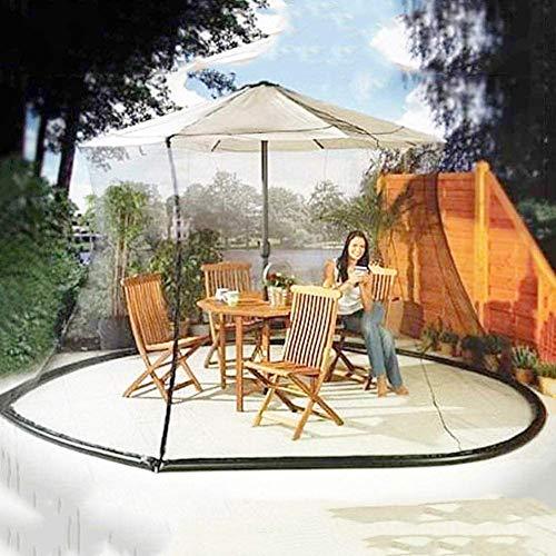 HFJKD Moskitonetz für Sonnenschirm, Outdoor-Sonnenschirm Tischschirm Patio Umbrella Moskitonetz Polyester Mesh Screen mit Reißverschlussöffnung, Höhe und Durchmesser einstellbar Geeignet