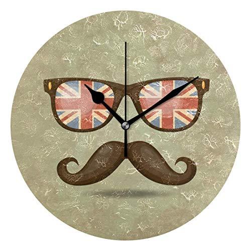 ALLdelete# Wall Clock Decoración del hogar Hipster Bigote y Gafas Relojes de Pared Estampados para la Sala de Estar Decoración del Dormitorio Funciona con Pilas