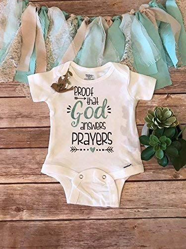 Proof That God Answers Prayers Baby Bodysuit, Worth the Wait, Baby Shower Gift, Religious Baby Gift,Unisex Baby Clothes,IVF Pregnancy Announcement
