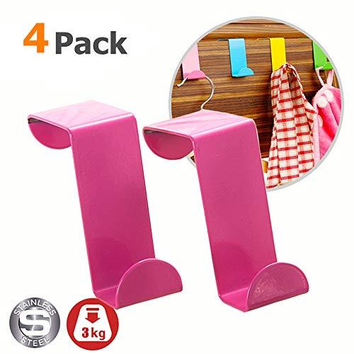 Türgarderobenhaken, Morbuy 4 Stück Multicolor Türhaken Einzeln Edelstahl Rostfrei Kleiderhaken für Büro Küche Kabinett Türhaken Badezimmerhaken (Pink)