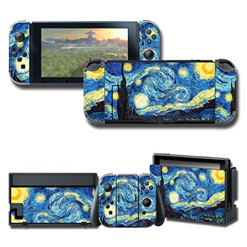 GilGames Stickers Decals Cover for Nintendo Switch, Skin Protector Durable Full Set Wrap Protection Faceplate Console Dock