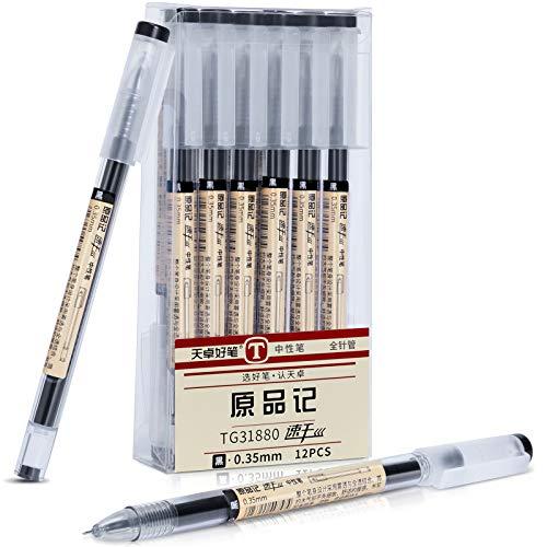 Schwarze Gelschreiber, 12 Stück Schnelltrocknende Tinte Schwarzer Kugelschreiber 0,35 mm feiner Spitzenstift für erwachsene Kinder Zeichnen, Schreiben, Schule und Büro