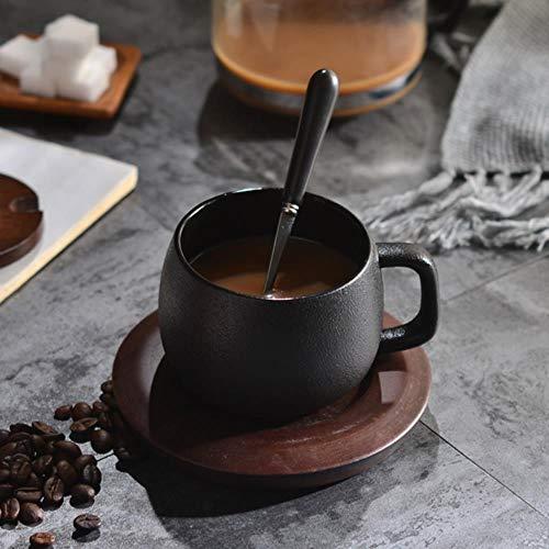 Espressotasse Geschenk Retro Steinzeug Gefrostete Kaffeetasse Mit Holzboden Einfache Keramik Persönlichkeit Becher Mit Deckel Und Löffel, 1.250 Ml