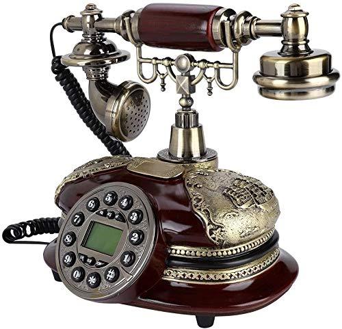 ZOUSHUAIDEDIAN Focket Teléfono de la vendimia, antiguo Dial rotatorio Placa antigua Teléfono con cable, teléfono retro clásico europeo, con identificador de llamadas for el hogar, oficina, casas de lu