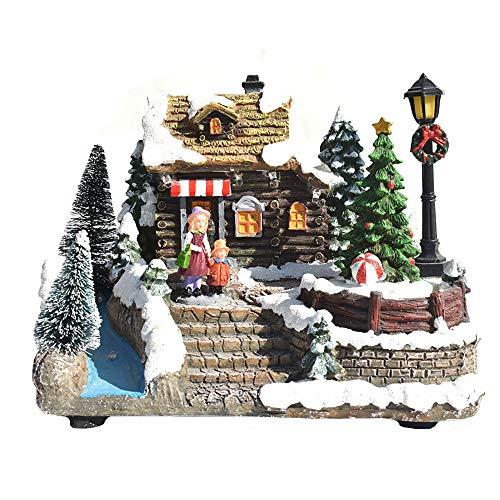 Tongnian Case del Villaggio di Natale in Resina, Musica LED Case Luminose del Villaggio Ornamenti da Tavolo Natalizi Accessori Decorazioni Natalizie per Interni