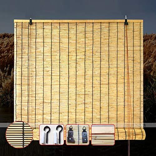 KDDEON Retro Carbonization Bambusrollo,Natürliche Schilf Vorhang,Trennwand Blind Sonnenschirm Strohjalousien,Handgewebt/Wasserdicht/Staub/Anpassbar,für Outdoor/Indoor (60x70cm/24x28in)