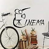 Pegatinas de pared de cine de estilo de dibujos animados, pegatina de pared de moda moderna para decoración de habitación de niños, calcomanía de arte de pared impermeable A7 43x66cm