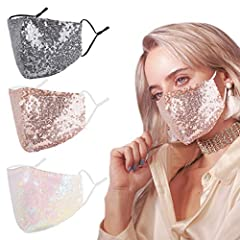 ✨PAKAGE & SIZE:3Pack. One size 9''×5.3'' fit normal girls. 🍷 COMFORTABLE & ADJUSTABLE: Soft cotton are comfortable to your face, the elastic mask band are adjustable to fit your face. 💫 FASHION & REUSABLE: Glitter and shiney you will be the beautiful...