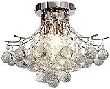 Saint Mossi Chandelier Modern K9 Crystal Raindrop Chandelier Lighting Flush Mount LED Ceiling Light Fixture for Dining Room Bathroom Bedroom Livingroom Pendant Lamp 11'H 16'W