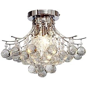 "Saint Mossi Chandelier Modern K9 Crystal Raindrop Chandelier Lighting Flush Mount LED Ceiling Light Fixture for Dining Room Bathroom Bedroom Livingroom Pendant Lamp 11""H 16""W"