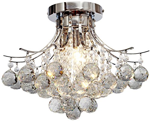 Saint Mossi Chandelier Modern K9 Crystal Raindrop Chandelier Lighting Flush Mount LED Ceiling Light Fixture for Dining Room Bathroom Bedroom Livingroom Pendant Lamp 11'H 16'W