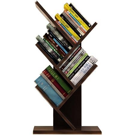 Smilemart ブックシェルフ 書棚 本棚 卓上 樹木型 オブジェ ラック コンパクト 省スペース ブックスタンド ブックラック 木製 おしゃれ かわいい シンプル 日本語説明書付き 60cm 3色選択可能 ベージュ・ダークブラウン・ブラック (ブラック)