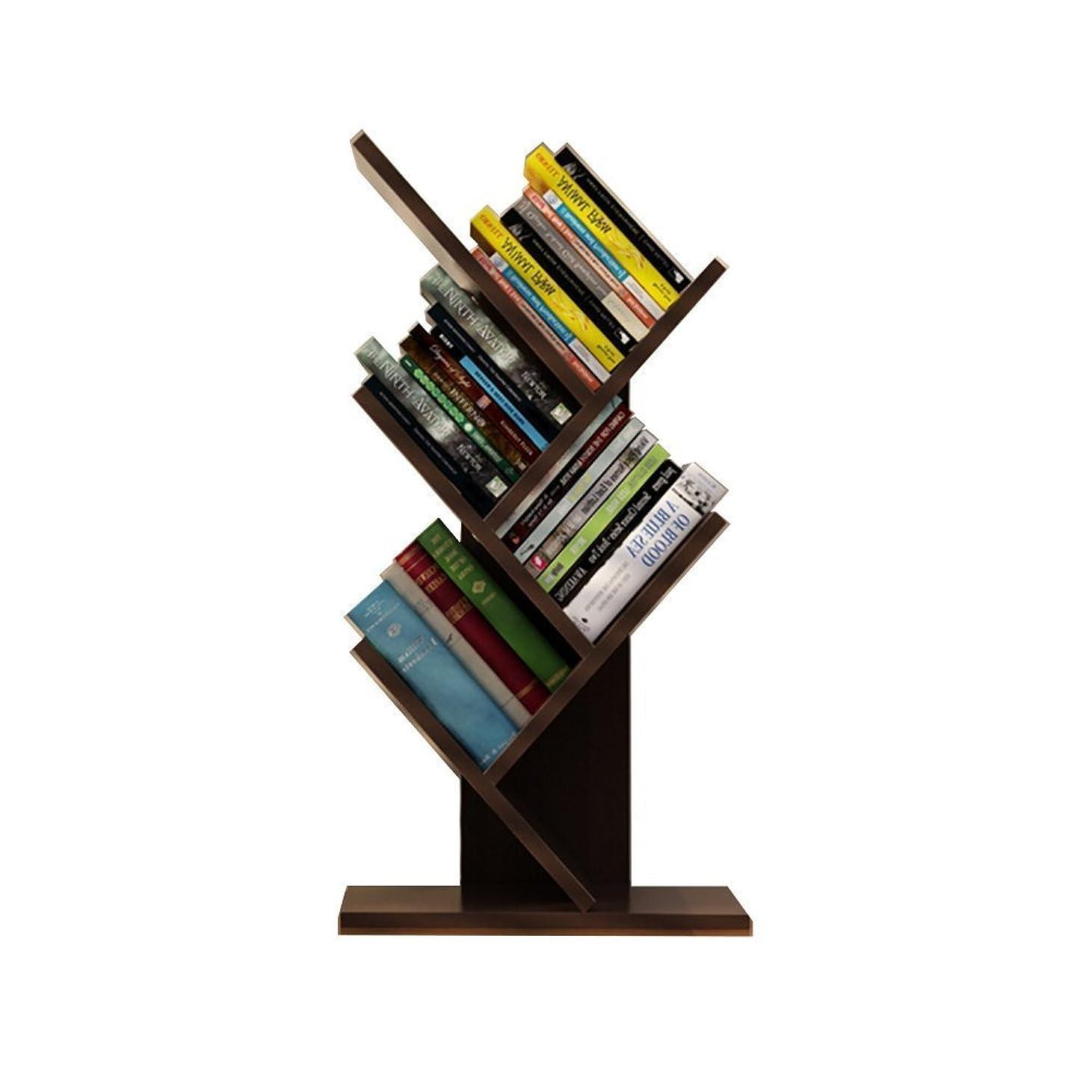 ママ許可スチールSmilemart ブックシェルフ 書棚 本棚 卓上 樹木型 オブジェ ラック コンパクト 省スペース ブックスタンド ブックラック 木製 おしゃれ かわいい シンプル ?日本語説明書付き 60cm 3色選択可能 ベージュ?ダークブラウン?ブラック (ブラック)