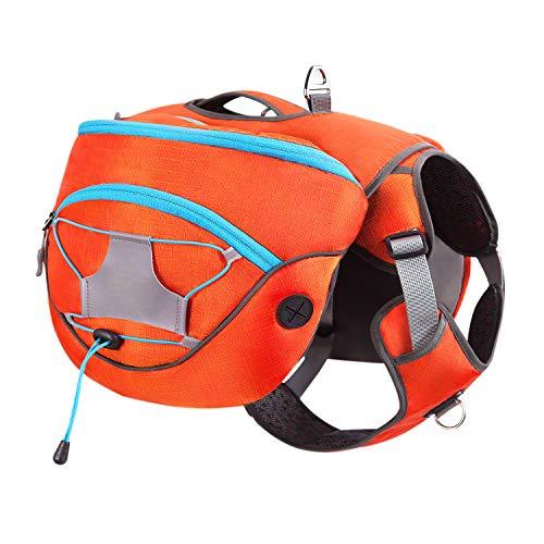 HAPPY HACHI Hunderucksack Hundegeschirr Haustier Einstellbar Abnehmbar Satteltasche Wasserdicht Wandern Camping (Orange, M)